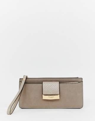 Dune slim foldover purse in taupe metallic