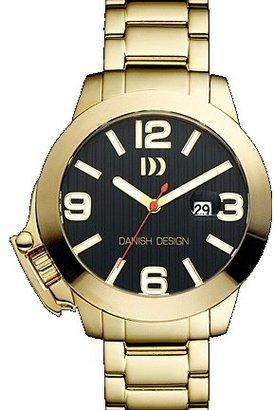 Danish Design (ダニッシュ デザイン) - デンマークデザイン# iq06q915 Men 's Gold IPステンレススチールBlack Dial LeftyアナログWatch