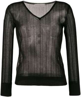 L'Autre Chose lightweight crochet V-neck sweater