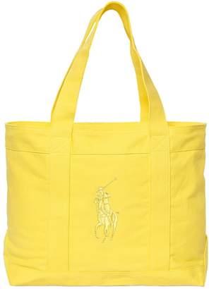 Ralph Lauren Childrenswear Embroidered Logo Cotton Canvas Bag