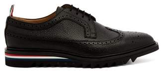 Thom Browne - Longwing Stacked Sole Pebbled Leather Brogues - Mens - Black