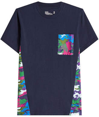 White Mountaineering Cotton T-Shirt with Camouflage Inserts