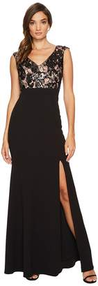 Adrianna Papell Cap Sleeve Long Gown with Lace Bodice Women's Dress