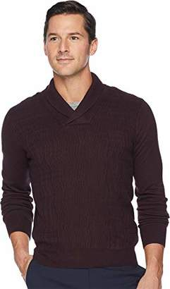 Perry Ellis Men's Cable Knit Shawl Collar Sweater