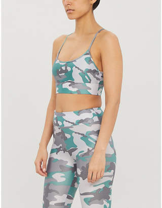 Koral Camouflage-print Lustrous high-shine sports bra