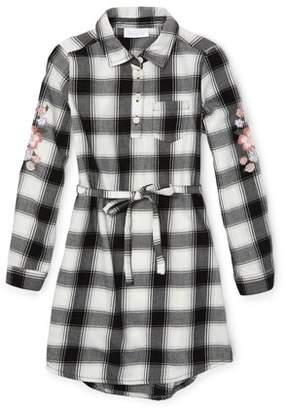Children's Place The Embroidered Plaid Long Sleeve Shirt Dress