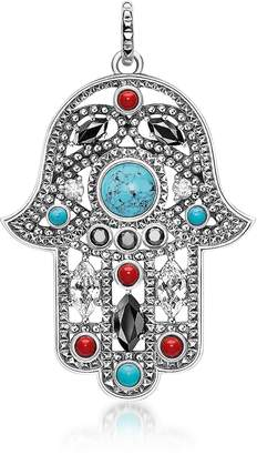 Thomas Sabo Blackened Sterling Silver Hand of Fatima Pendant w/Turquoise and Zirconia