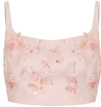 Prada Cropped Appliquéd Silk-gazar Top - Blush