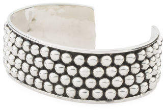Handmade In Mexico Sterling Silver 4 Row Ball Cuff Bracelet