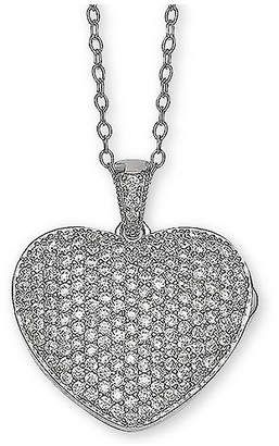 "Giani Bernini Cubic Zirconia Pave Heart Locket 18"" Pendant Necklace in Sterling Silver"