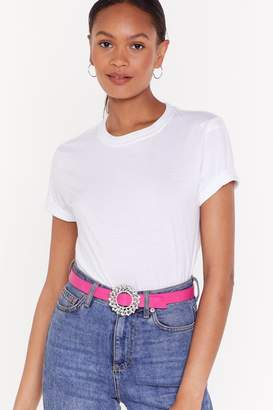 Nasty Gal Womens Pu Embellished Buckle Belt - Pink - One Size, Pink