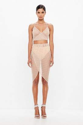 Missguided Nude Embellished Sheer Skirt