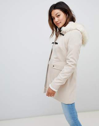Miss Selfridge duffle coat with faux fur trim hood in cream