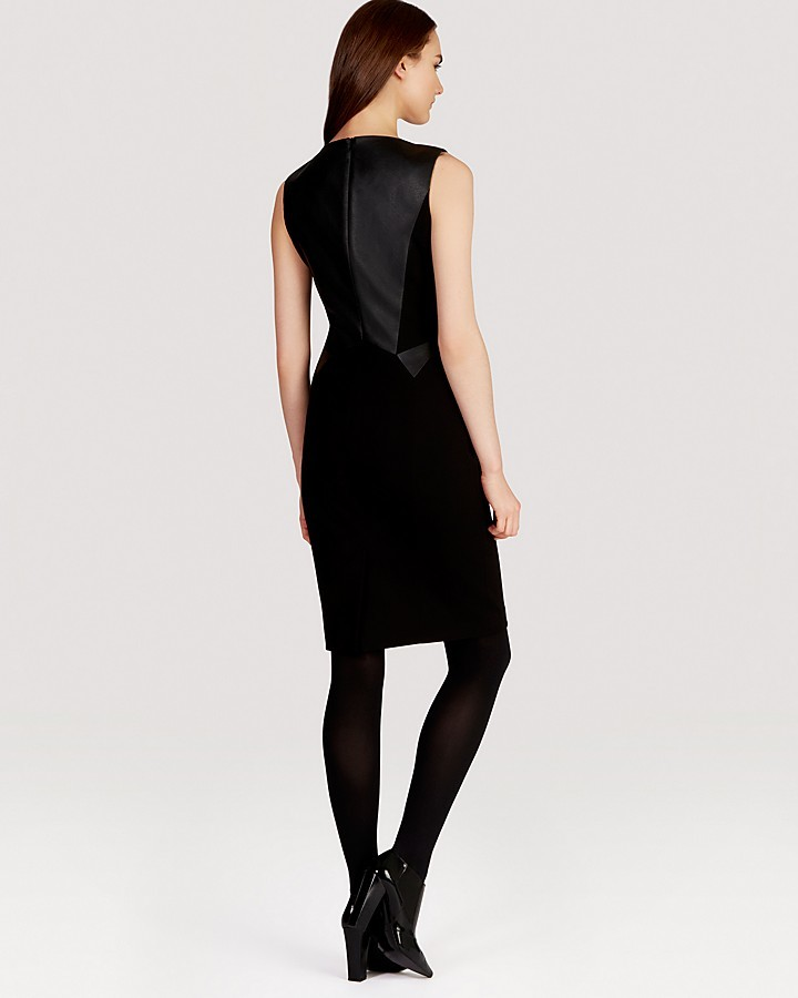 Karen Millen Faux Leather and Jersey Collection Dress