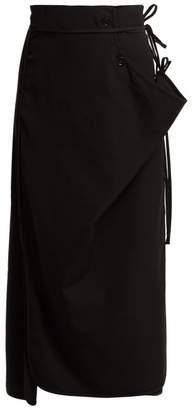 Lemaire Tie Waist Wrap Wool Skirt - Womens - Black