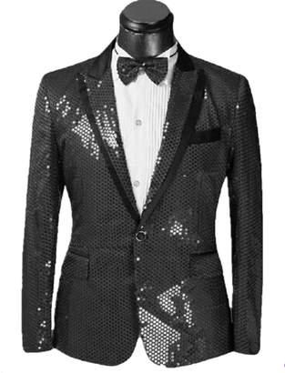 Splendid Suxiaoxi Men's Nightclub Sequins Blazer Jacket Lapel Tuxedo Suits Jacket