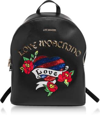 Love Moschino Black Love Embroidered Backpack