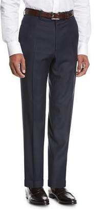 Brioni Wool Flat-Front Trousers, Navy