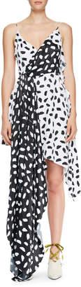 Off-White Off White Draped Two-Tone Asymmetric Dress