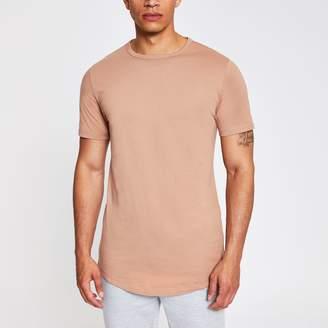 River Island Mens Light Brown curved hem longline T-shirt