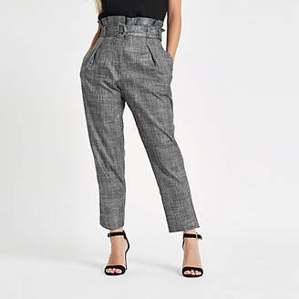 River Island Petite grey check paperbag tapered pants