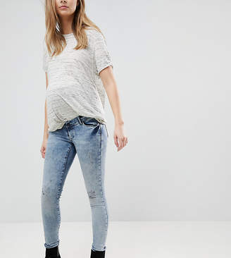 Supermom Maternity Distressed Skinny Over The Bump Jeans With Adjustable Waist