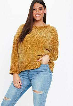 Missguided Plus Size Mustard Oversized Soft Chenille Sweater