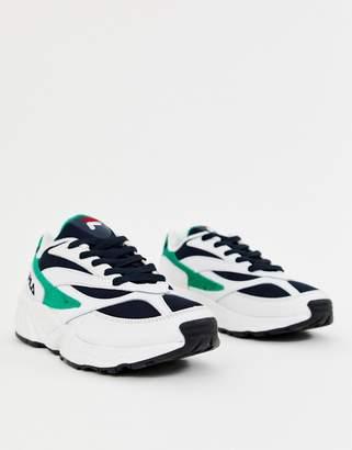 Fila White Green And Navy Venom Sneakers