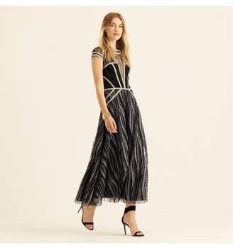 Amanda Wakeley Midnight Metallic Embroidery Cap Sleeve Dress