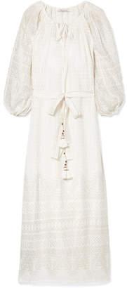 Mes Demoiselles Offrande Tasseled Printed Cotton-voile Midi Dress - Ivory