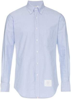 Thom Browne logo patch fitted shirt