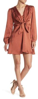 re:named apparel Laura Dot Print Tie Front Mini Dress
