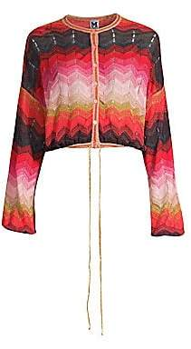 M Missoni Women's Lurex Crop Zigzag Cardigan