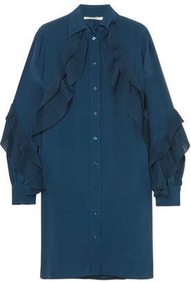 Givenchy Ruffled Silk Crepe De Chine Tunic - Blue