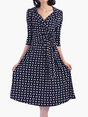 Jolie Moi Vintage Cross Front Tea Dress, Blue/Multi Geo