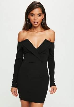Missguided black bardot foldover wrap dress, Black