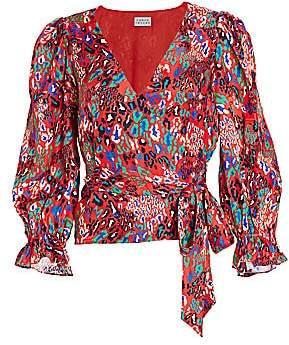 Tanya Taylor Women's Kaylee Mixed Animal-Print Silk Wrap Blouse