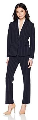 Tahari by Arthur S. Levine Women's Petite 1 Button Peak Lapel Pinstriped LACE Trim Pant Suit