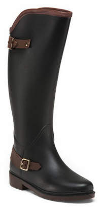 Double Buckle Knee High Rain Boots