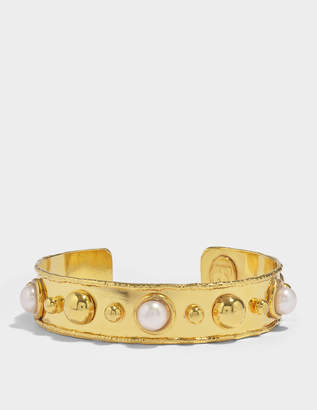 Stone Massaii Cuff Bracelet in Gold-Plated Brass with Pearls