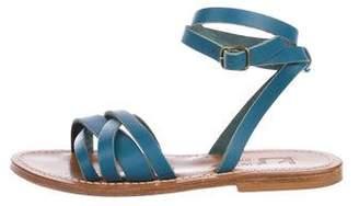 K Jacques St Tropez Leather Ankle Strap Sandals