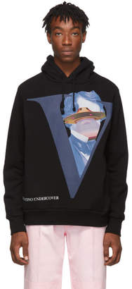 Undercover Black Valentino Edition V Face UFO Print Hoodie