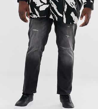 Intelligence slim fit abrasion jeans in dark grey wash