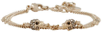 Alexander McQueen Gold Chain Multi Skull and Stone Bracelet