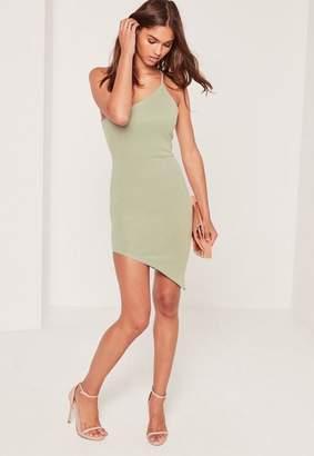 Missguided Green One Shoulder Bodycon Asymmetric Dress