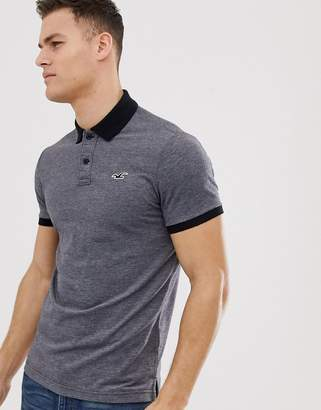 8cbe11744 Hollister icon logo heritage slim fit polo contrast collar in black marl