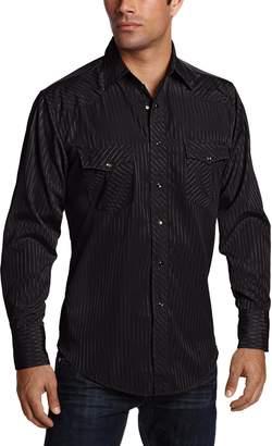 Wrangler Men's Sport Western Snap Shirt Dobby Stripe
