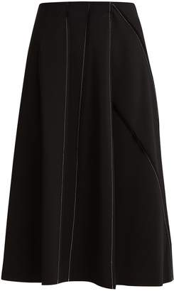 The Row Laeha contrast-stitch stretch-crepe skirt