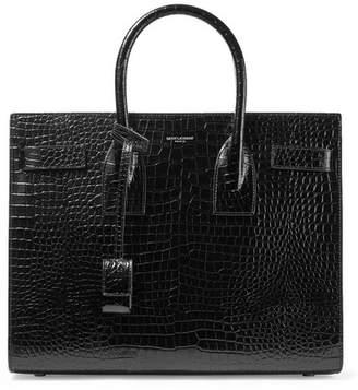 Saint Laurent Sac De Jour Small Croc-effect Leather Tote - Black