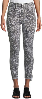 Current/Elliott Stiletto Super-High Waist Snow Leopard Pants